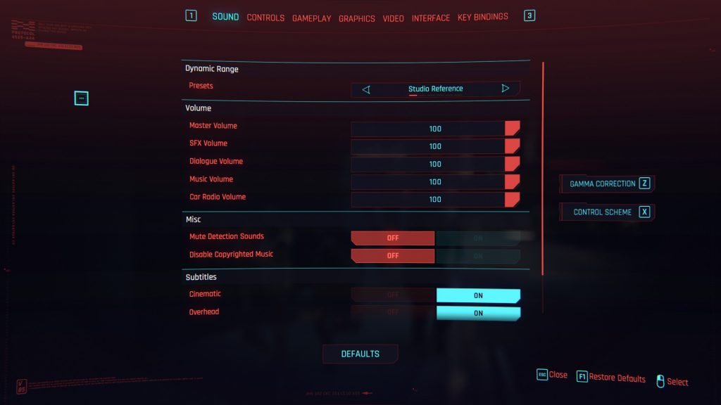 Cyberpunk 2077 sound settings